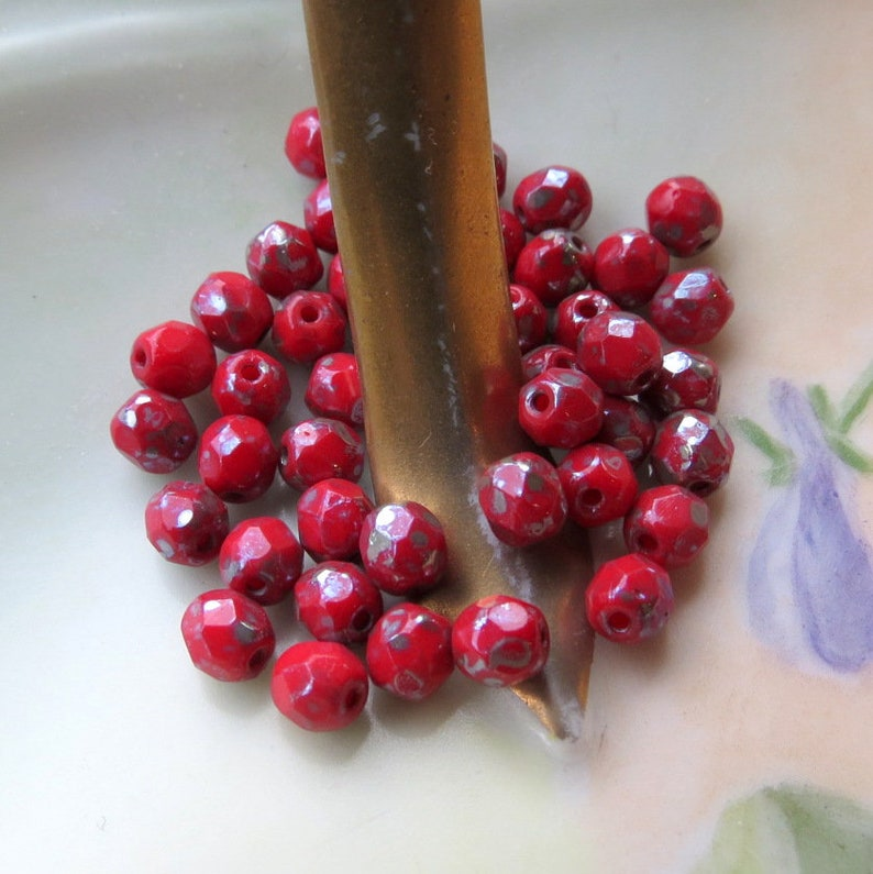 Czech Fire Polished Picasso Glass Beads Supplies for Jewelry Making 50 beads 4 mm New RED PICASSO ROUNDS