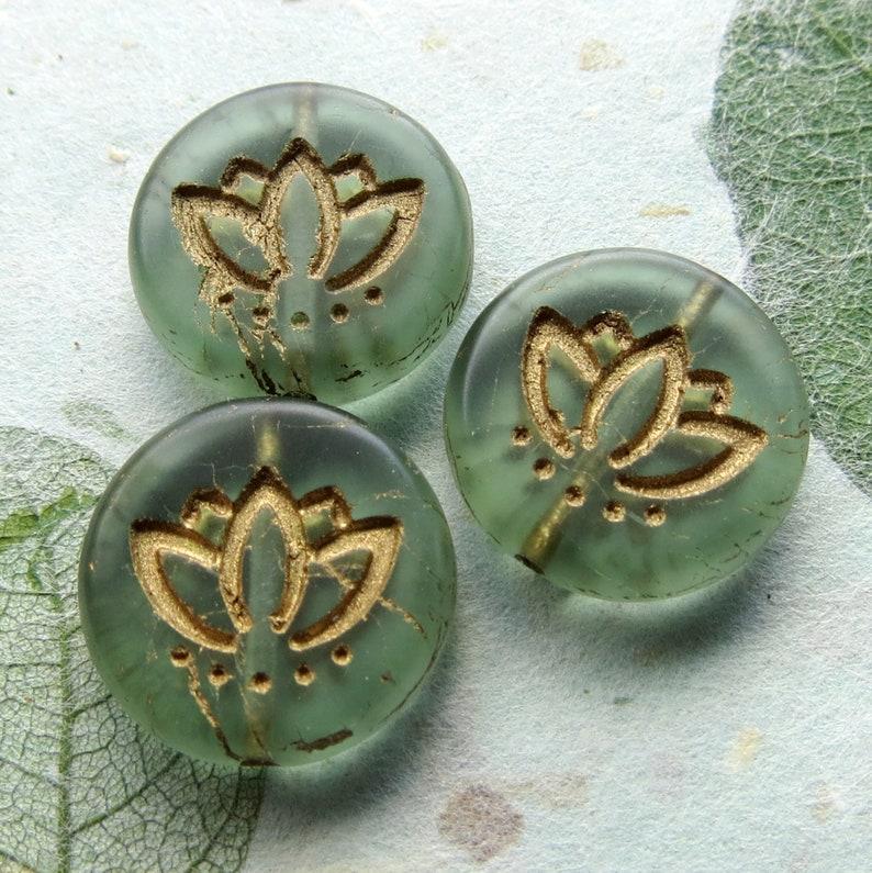 Supplies for Jewelry Making 6 beads New GOLDEN GREEN LOTUS 14 mm Czech Metallic Glass Coin Beads