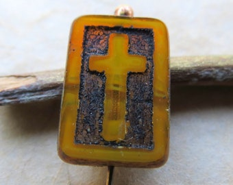 Sale AGED AMBER CROSSES . Czech Table Cut Picasso Glass Beads (4 beads) 12 mm by 17 mm . Supplies for Jewelry Making