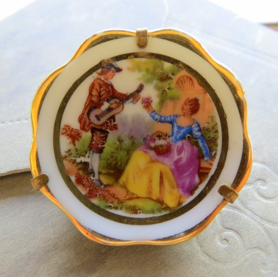 ANTIQUE LIMOGES PAINTED Brooch (Pin)