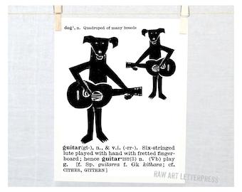 Dog Lover, Dog Art, Gift for Dog Lover, Wall Art, Dog Decor, Guitar art, Dictionary Print, dog painting, Art Print, Kids Dog Art, Cute Dog