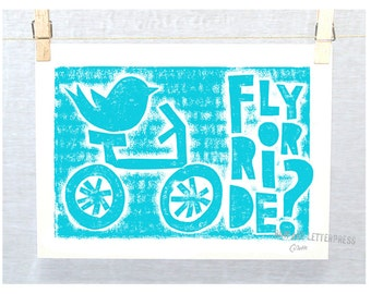 Bicycle Bird Print, Raw Art Letterpress, Typography Posters and Prints, Wall Art,  December Trends Turquoise,  Nursery Art Print