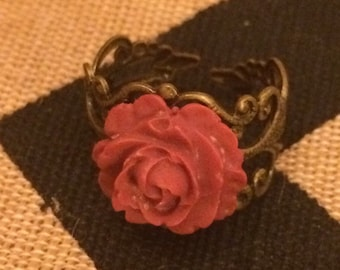 Rose Ring - Ruby Red Rose with Antique Gold Filigree base