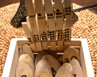 Handmade Wood Burned Reggio Inspired Number Wood Cookies & Counting Clothespins