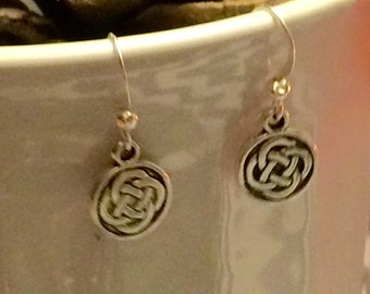 Silver plate and Pewter Celtic Desisgn  coin earrings