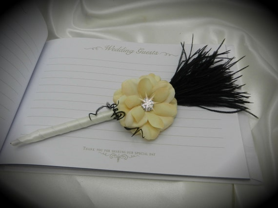 Black and Ivory Ostrich Feather Guestbook Pen