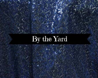Sequin Navy Blue Bolt Fabric Various Sizes