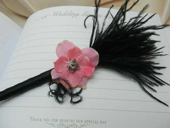 Pink and Black Ostrich Feather Guestbook Pen