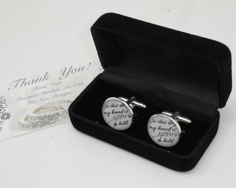 Hold my Hand Cuff Links with Case custom wedding gifts wedding gift Box groomsman bridesman cufflinks groom