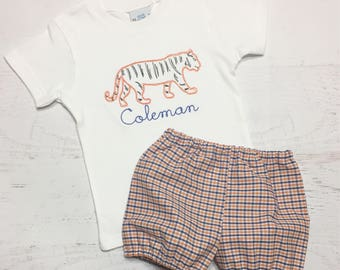Auburn Tiger Outfit - AU Outfit - Navy and Orange Shorts - Auburn Tigers Shirt - Bubble Shorts - Vintage Embroidered Shirt - Auburn Football