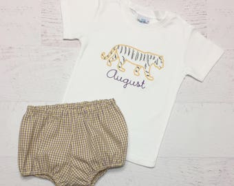 LSU Tiger Diaper Cover Set - Vintage Embroidered Tiger Shirt - Purple and Gold Plaid Bloomers - LSU Outfit - Geaux Tigers - LSU Shirt