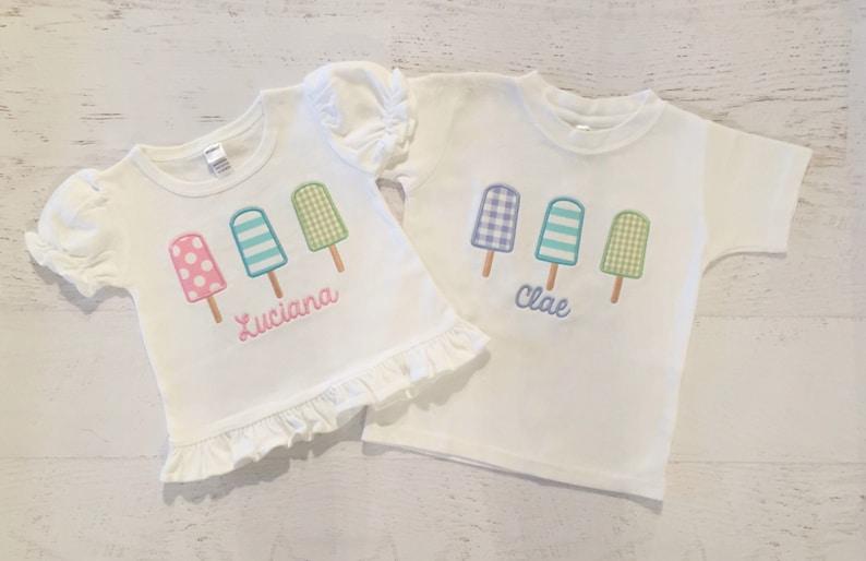 bef63624ad9e Popsicle Appliqué Shirt Ice Cream Shirt Summer Birthday