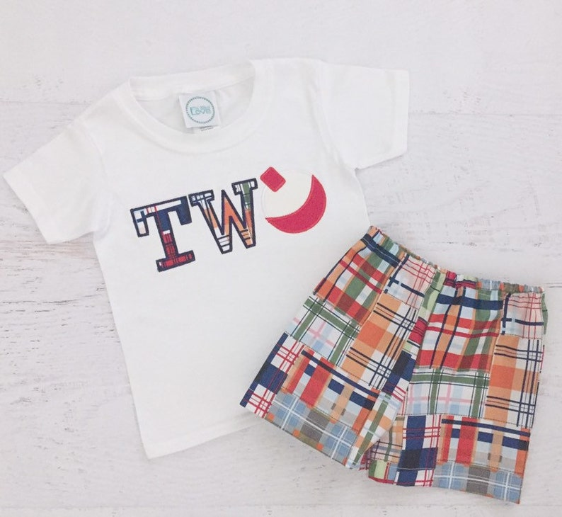 Birthday Outfit Bobber TWO Shirt Fishing Birthday Madras Plaid Fishing Outfit Fishing Second Birthday Outfit Boy Second Birthday