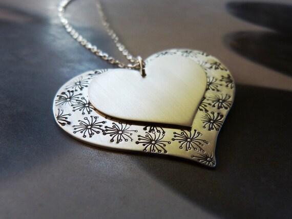 Heart Silver Pendant Dandelion Necklace OOAK Jewelry Gift