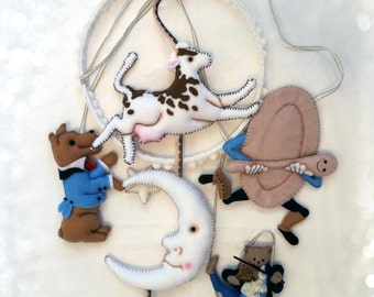 Nursery Mobile - Hey Diddle Diddle in blues with brown spotted cow