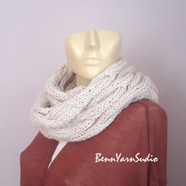 Knit Infinity Scarf/_Winter Infinity Scarf/_Chunky Knit Cowl Scarf/_Neckwarmer Womens Knit/_Cable infinity Scarf/_Women/'s Fall Fashion