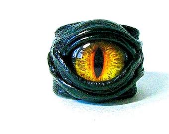 Dragon eye adjustable  genuine leather ring. Statement ring. Horror leather ring. Evil eye ring. Halloween fantasy ring Burning man costumes