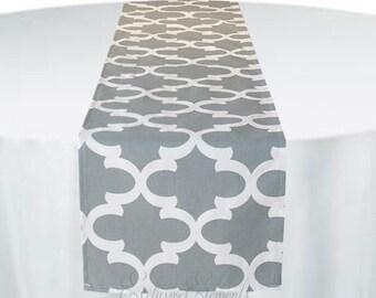 Charmant Gray Table Runner Quatrefoil Lattice Grey Trellis Runner Wedding Table  Centerpiece Modern Party Shower Decor