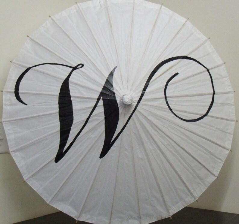 Parasol Umbrella Wedding Monogram Custom Initial Photo Prop Decoration White Ivory Umbrella Ceremony Decor Wedding Ceremony Decor