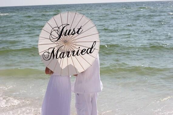 Wedding Just Married Parasol Wedding Umbrella Photo Prop Ivory White Parasol Just Married Custom Ceremony Decor Sale