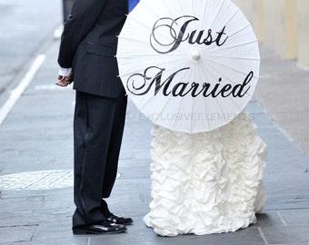 Wedding Umbrella Personalized Custom Just Married Parasol Umbrella Ivory White Decoration Wedding Ceremony Bridal Accessory Decor