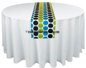 Turquoise Blue Chartreuse Green Black and White Table Runner Polka Dot Table Runner Wedding Centerpiece Linens Birthday Party Decor