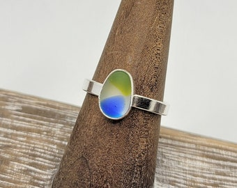 Blue green and clear multi sea glass ring in sterling silver size 7