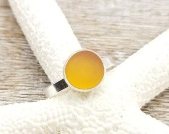 Orange sea glass ring in sterling silver size 7
