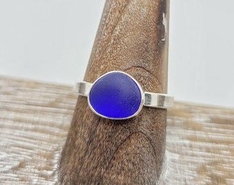 Cobalt blue sea glass ring in sterling silver size 10