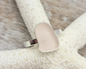 Light pink sea glass ring in sterling silver size 8
