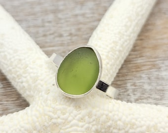 Light olive green sea glass ring in sterling silver size 10