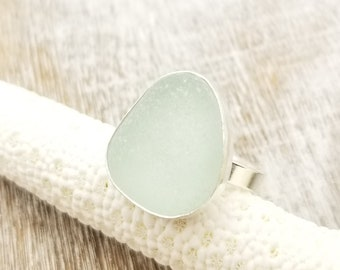 White sea glass ring in sterling silver size 6