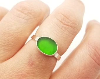 Lime green sea glass ring in sterling silver size 10