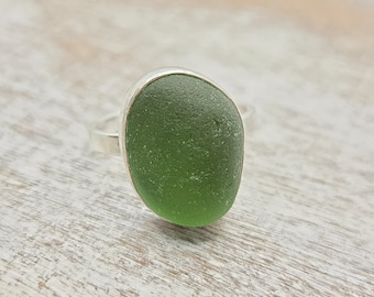Olive green sea glass ring in sterling silver size 9