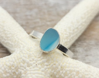 Baby blue and clear multi sea glass ring in sterling silver size 9