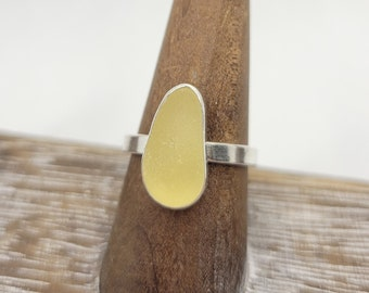 Yellow sea glass ring in sterling silver size 8