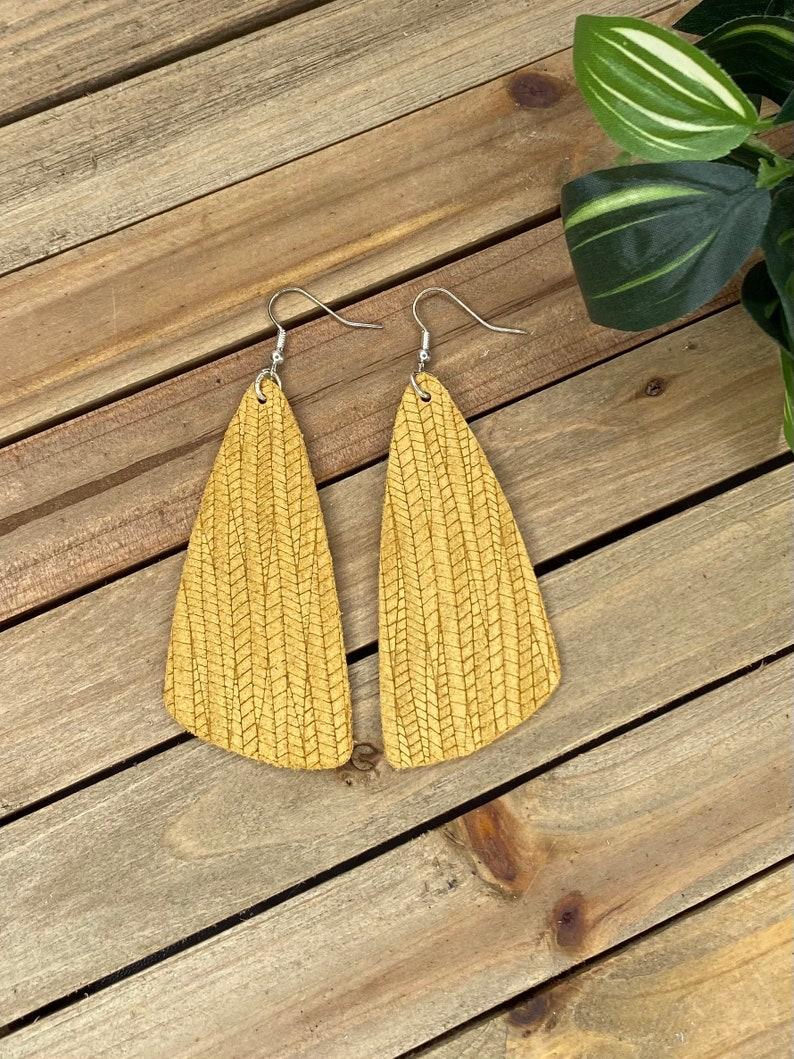 Light Mustard Leather Earrings