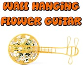 GUITAR wall hanging music flower hippie van tiny house gift 1960s Woven Wicker Rattan TIKI Luau Beach Cottage Decor Vintage