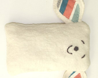 Organic Baby stuffed animal, lovey, tag toy, teether made from organic cotton, stuffed with pure wool