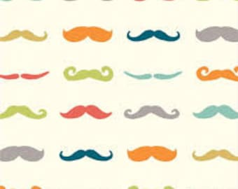 Organic Cotton Fitted Mini  and Full Size Crib Sheet, birch fabrics, colorful mustaches, retro