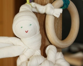 Organic Baby teething toy made from Organic Cotton and  Maple Wood Ring, non toxic, baby first Christmas