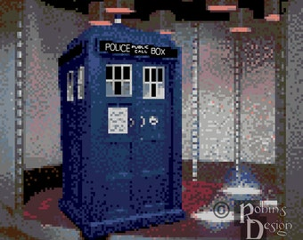 When Sci Fi Shows Collide, The TARDIS in the Transporter Room Cross Stitch Pattern PDF