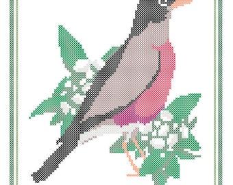Connecticut State Bird, Flower and Motto Cross Stitch Pattern PDF
