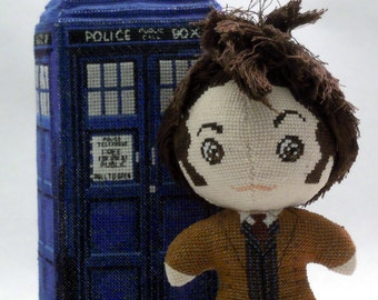 The Tenth Doctor in Coat Doll 3D Cross Stitch Sewing Pattern PDF