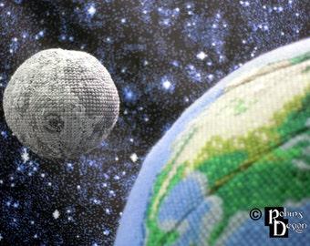 Moon Globe 3D Cross Stitch Sewing Pattern PDF