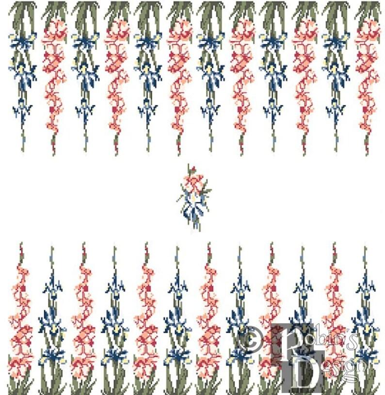 Backgammon Board Cross Stitch Pattern Gladiolus and Iris PDF image 0