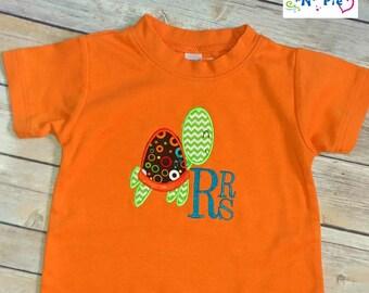 Personalized Sea Turtle Applique on Orange Boy's SS Shirt