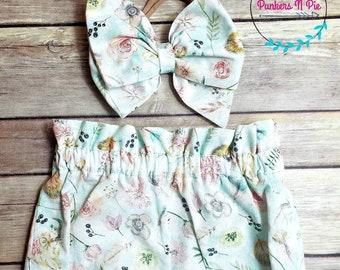 Boho Baby Bummie Feathers Arrows Flowers Headband Shorts Diaper Cover