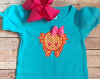 Just a little Crabby Applique on Turquoise Bubble Romper