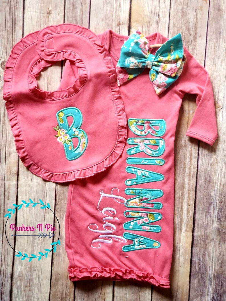 Gown with name monogrammed bib and bow headband Turquoise Rose baby gift set